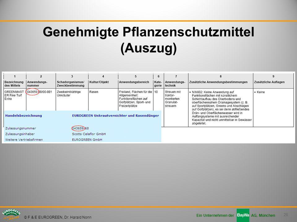 26 Ein Unternehmen der AG, München © F & E EUROGREEN, Dr. Harald Nonn Genehmigte Pflanzenschutzmittel (Auszug)