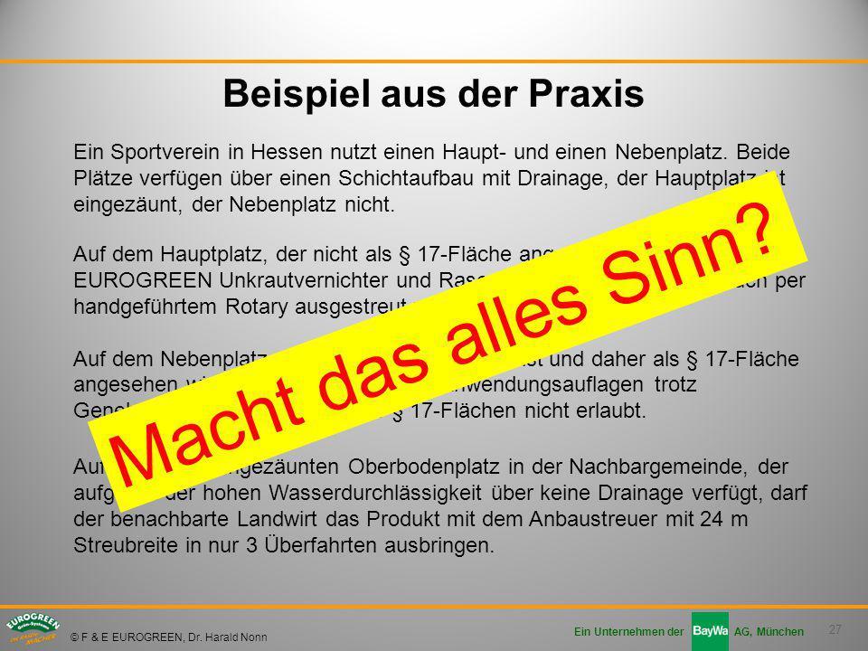 27 Ein Unternehmen der AG, München © F & E EUROGREEN, Dr. Harald Nonn Beispiel aus der Praxis Ein Sportverein in Hessen nutzt einen Haupt- und einen N