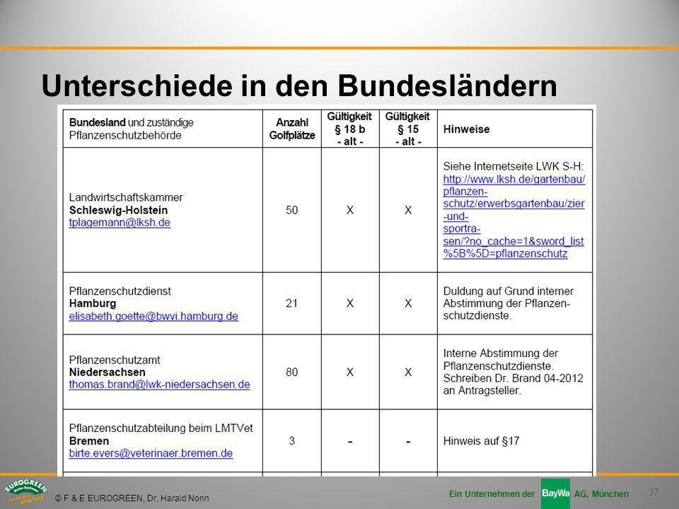 37 Ein Unternehmen der AG, München © F & E EUROGREEN, Dr. Harald Nonn Unterschiede in den Bundesländern
