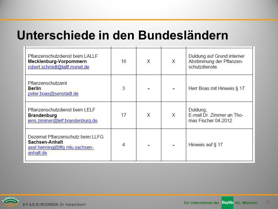 38 Ein Unternehmen der AG, München © F & E EUROGREEN, Dr. Harald Nonn Unterschiede in den Bundesländern