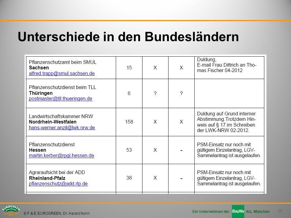39 Ein Unternehmen der AG, München © F & E EUROGREEN, Dr. Harald Nonn Unterschiede in den Bundesländern