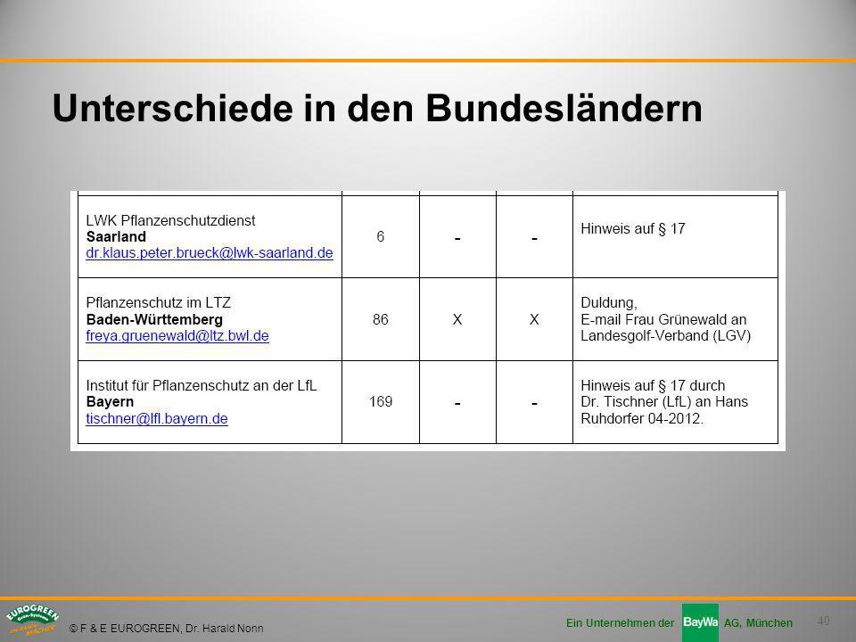 40 Ein Unternehmen der AG, München © F & E EUROGREEN, Dr. Harald Nonn Unterschiede in den Bundesländern