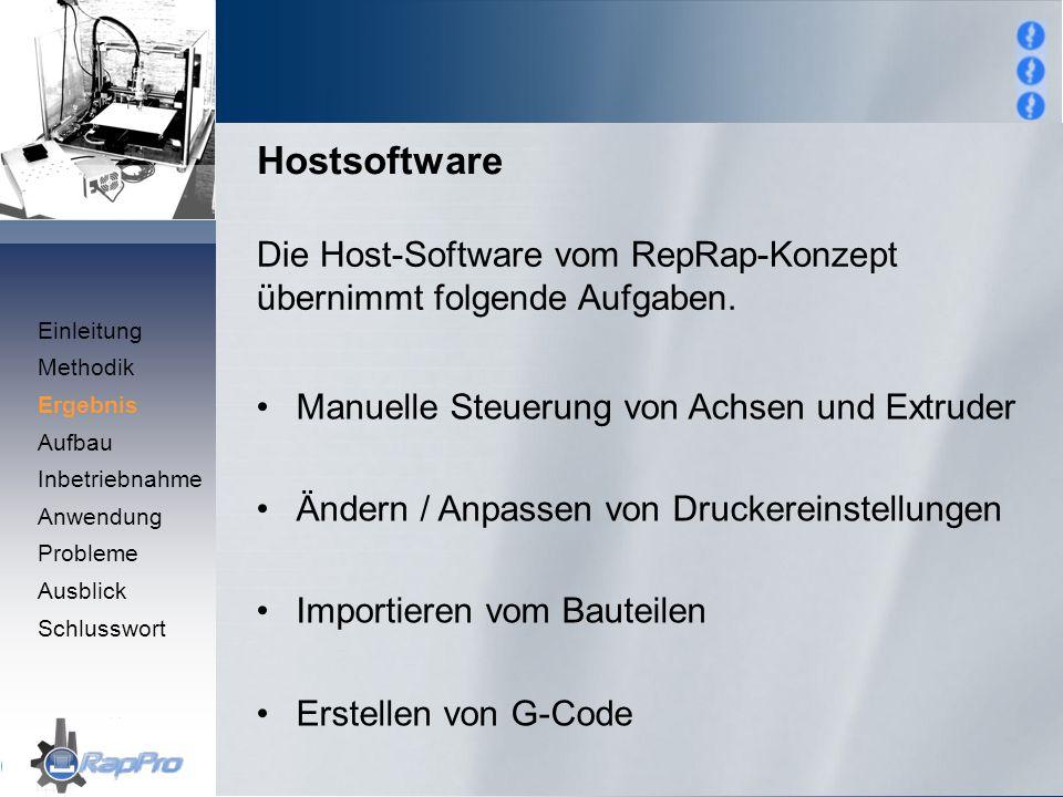 Hostsoftware Die Host-Software vom RepRap-Konzept übernimmt folgende Aufgaben. Manuelle Steuerung von Achsen und Extruder Ändern / Anpassen von Drucke