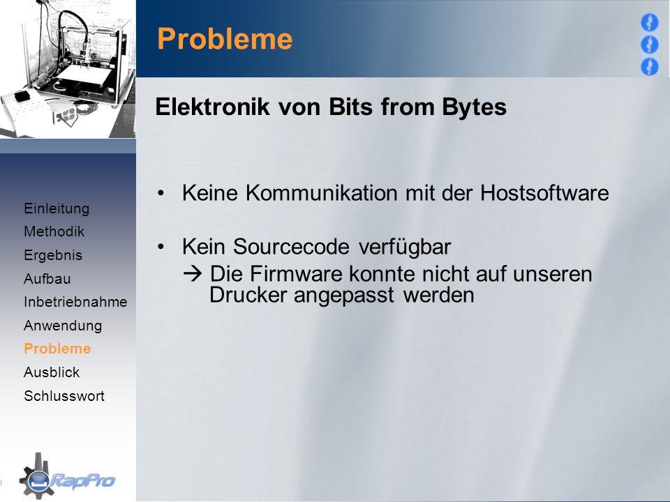 Probleme Keine Kommunikation mit der Hostsoftware Kein Sourcecode verfügbar  Die Firmware konnte nicht auf unseren Drucker angepasst werden Elektroni