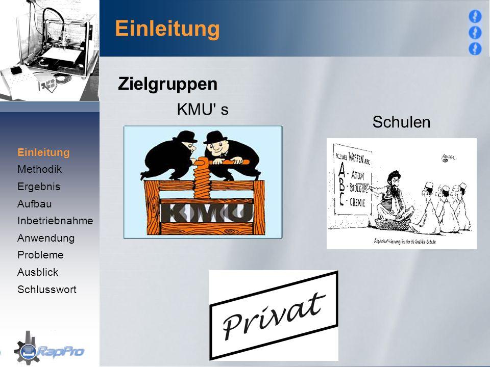 Einleitung KMU' s Schulen Zielgruppen Einleitung Methodik Ergebnis Aufbau Inbetriebnahme Anwendung Probleme Ausblick Schlusswort