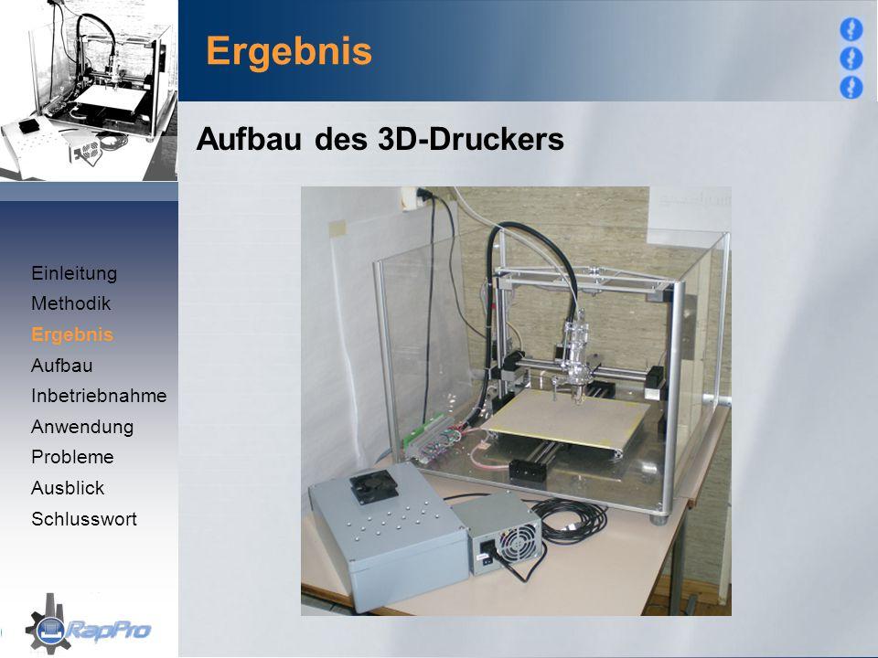 Ergebnis Aufbau des 3D-Druckers Einleitung Methodik Ergebnis Aufbau Inbetriebnahme Anwendung Probleme Ausblick Schlusswort