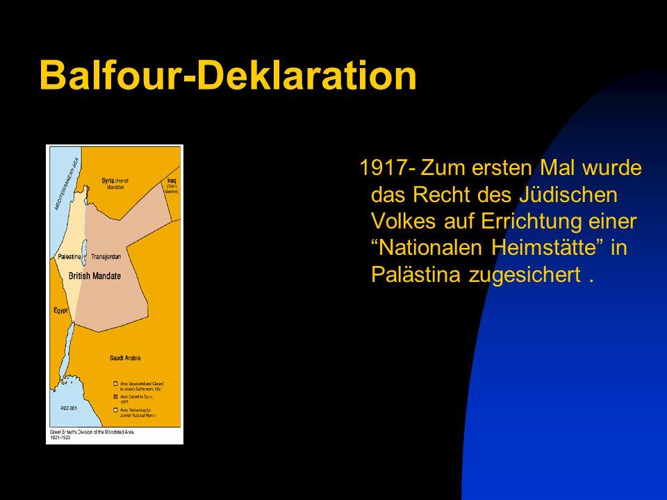 Balfour-Deklaration 1917- Zum ersten Mal wurde das Recht des Jüdischen Volkes auf Errichtung einer Nationalen Heimstätte in Palästina zugesichert.