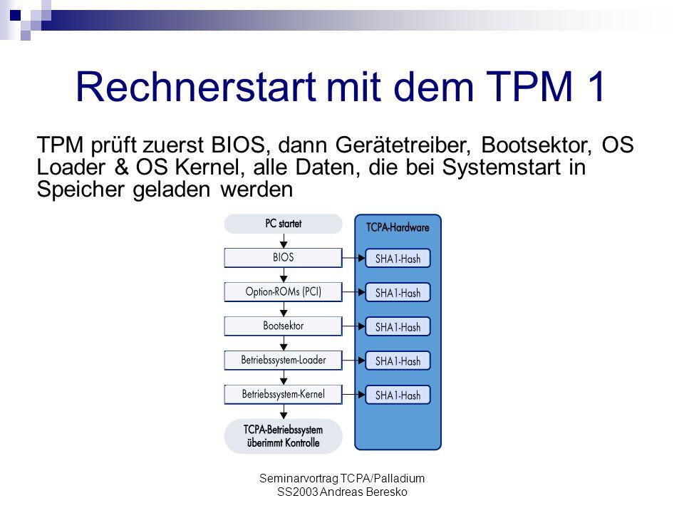 Seminarvortrag TCPA/Palladium SS2003 Andreas Beresko Rechnerstart mit dem TPM 1 TPM prüft zuerst BIOS, dann Gerätetreiber, Bootsektor, OS Loader & OS Kernel, alle Daten, die bei Systemstart in Speicher geladen werden