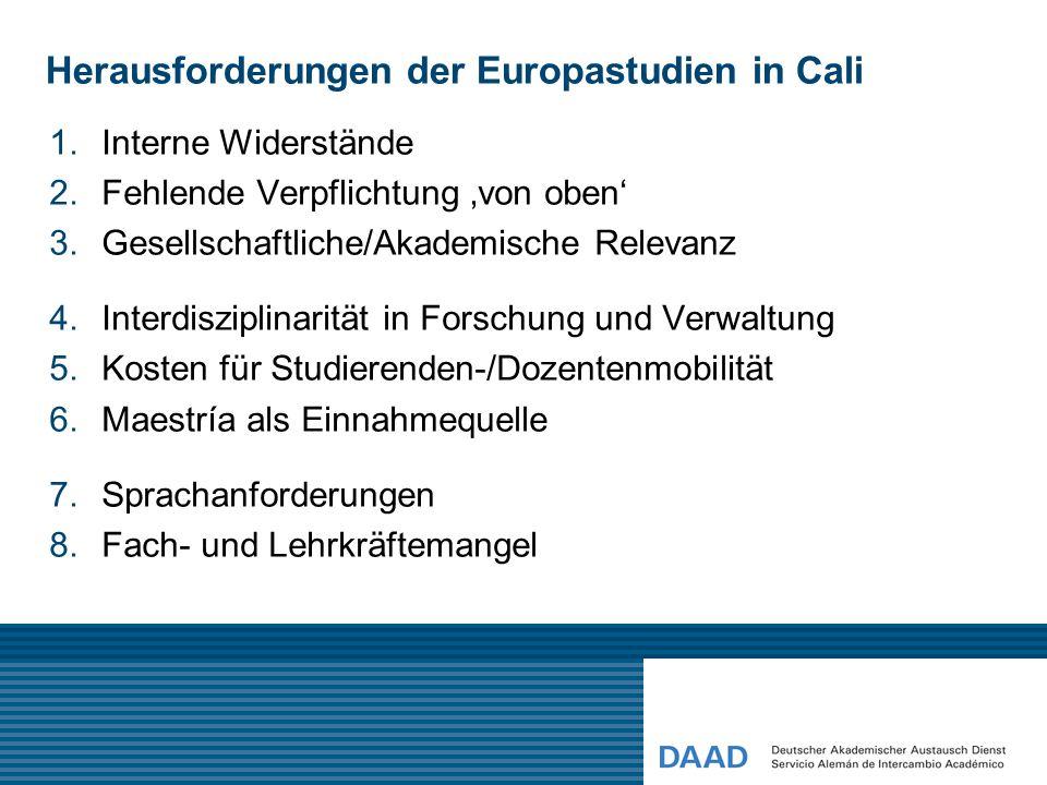 Herausforderungen der Europastudien in Cali 1.Interne Widerstände 2.Fehlende Verpflichtung 'von oben' 3.Gesellschaftliche/Akademische Relevanz 4.Inter