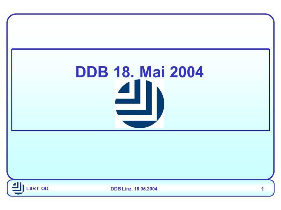 LSR f. OÖDDB Linz, 18.05.2004 1 LSR f. OÖ DDB 18. Mai 2004