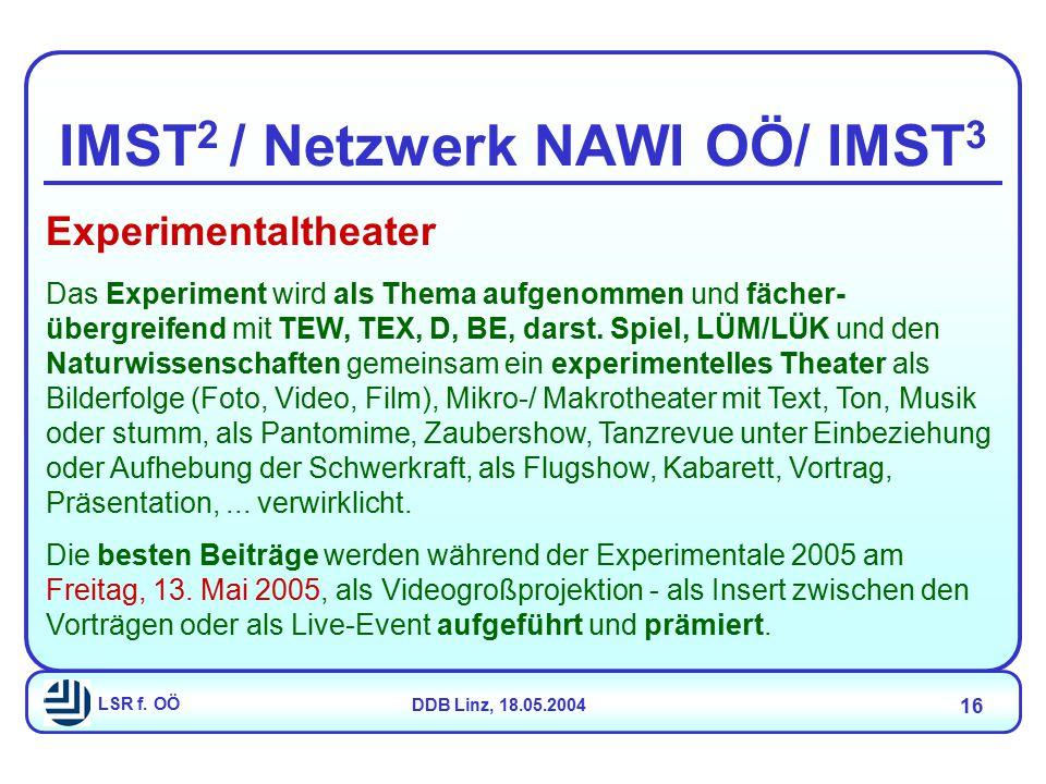 LSR f. OÖDDB Linz, 18.05.2004 16 IMST 2 / Netzwerk NAWI OÖ/ IMST 3 Experimentaltheater Das Experiment wird als Thema aufgenommen und fächer- übergreif