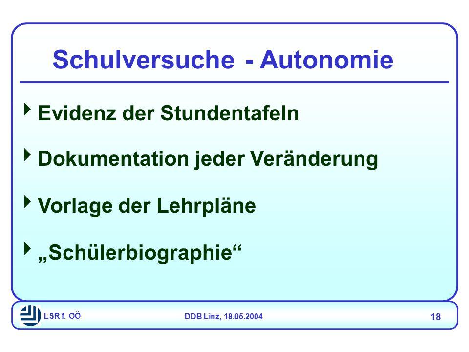 """LSR f. OÖDDB Linz, 18.05.2004 18  Evidenz der Stundentafeln  Dokumentation jeder Veränderung  Vorlage der Lehrpläne  """"Schülerbiographie"""" Schulvers"""