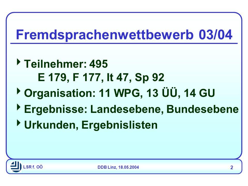 LSR f.OÖDDB Linz, 18.05.2004 13 Oberstufen-Lehrplan NEU -...
