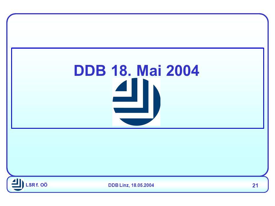 LSR f. OÖDDB Linz, 18.05.2004 21 LSR f. OÖ DDB 18. Mai 2004