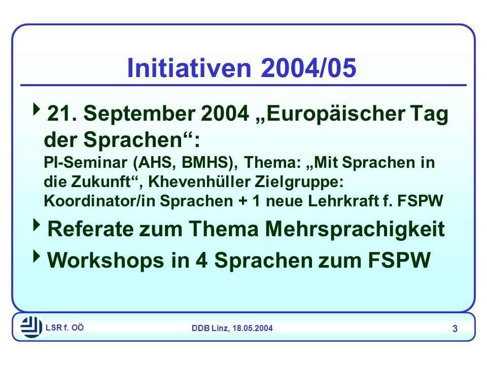 """LSR f. OÖDDB Linz, 18.05.2004 3 Initiativen 2004/05  21. September 2004 """"Europäischer Tag der Sprachen"""": PI-Seminar (AHS, BMHS), Thema: """"Mit Sprachen"""