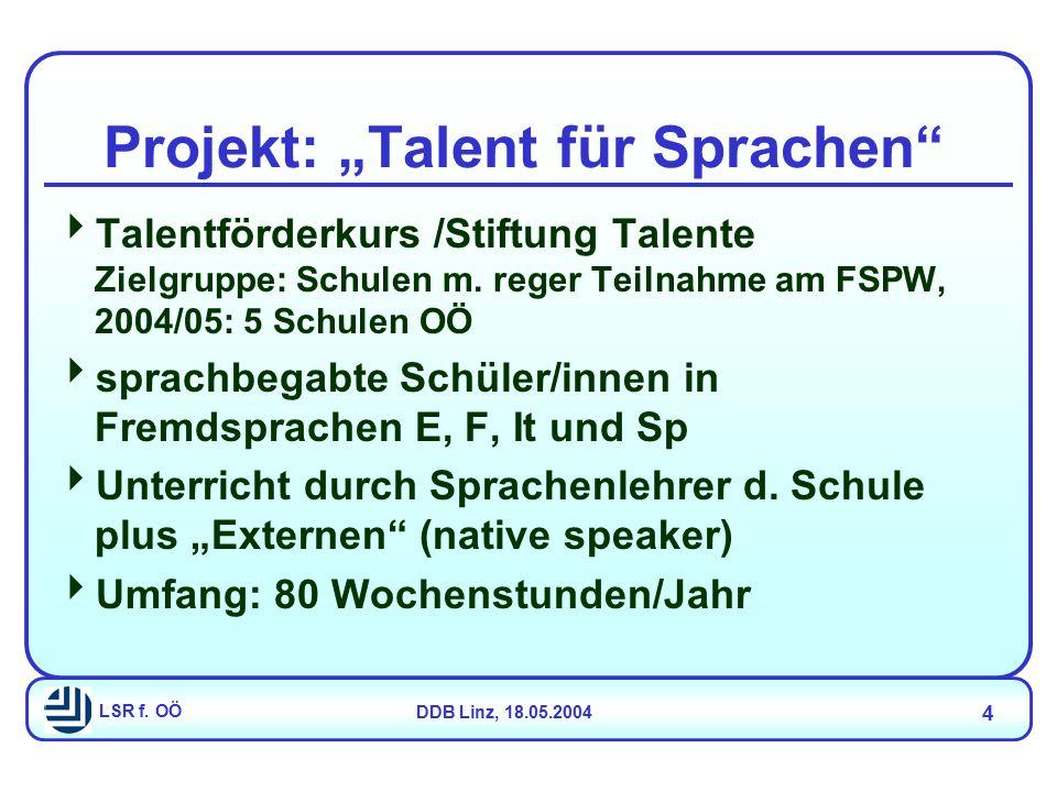 "LSR f. OÖDDB Linz, 18.05.2004 4 Projekt: ""Talent für Sprachen""  Talentförderkurs /Stiftung Talente Zielgruppe: Schulen m. reger Teilnahme am FSPW, 20"