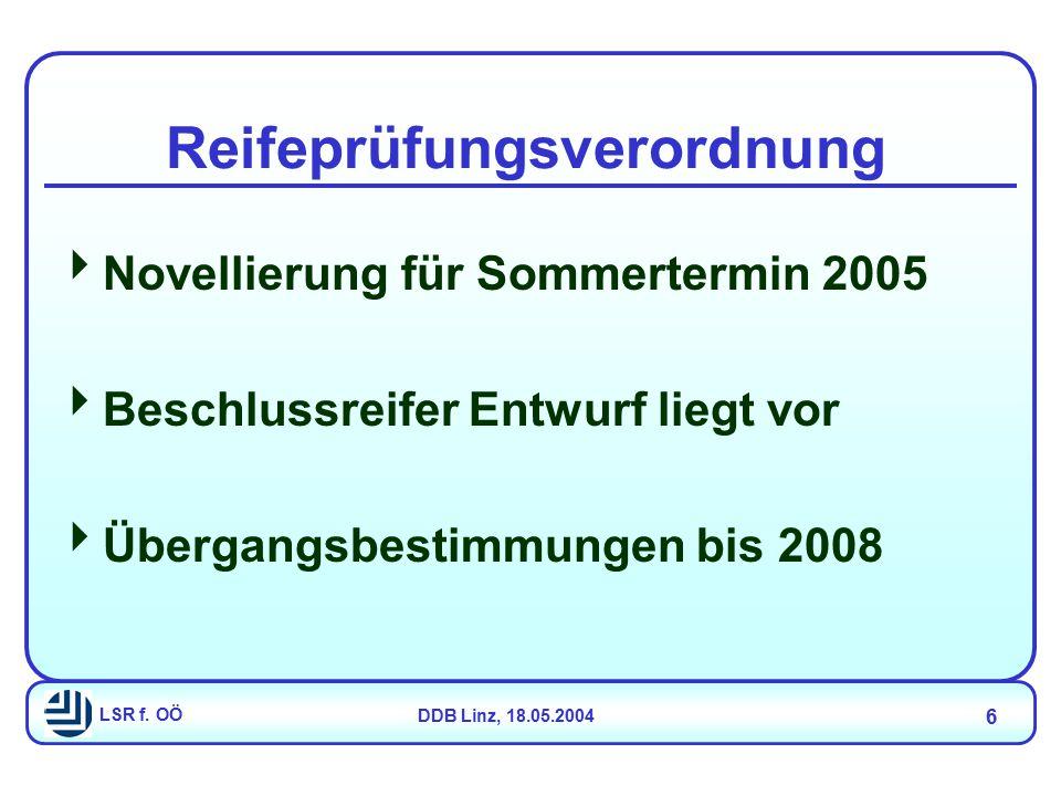 LSR f. OÖDDB Linz, 18.05.2004 6 Reifeprüfungsverordnung  Novellierung für Sommertermin 2005  Beschlussreifer Entwurf liegt vor  Übergangsbestimmung