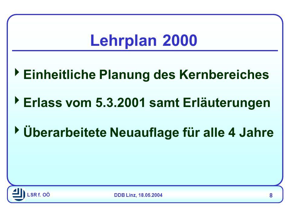 LSR f. OÖDDB Linz, 18.05.2004 8 Lehrplan 2000  Einheitliche Planung des Kernbereiches  Erlass vom 5.3.2001 samt Erläuterungen  Überarbeitete Neuauf