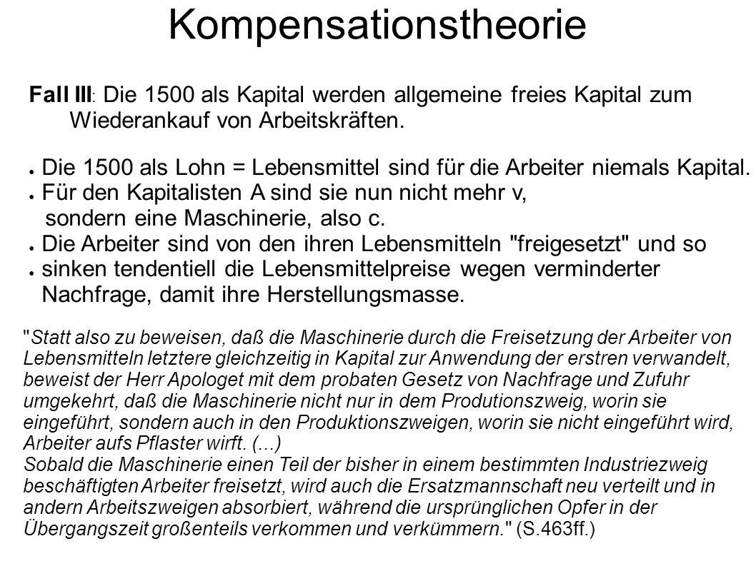 Kompensationstheorie Fall III : Die 1500 als Kapital werden allgemeine freies Kapital zum Wiederankauf von Arbeitskräften. ● Die 1500 als Lohn = Leben