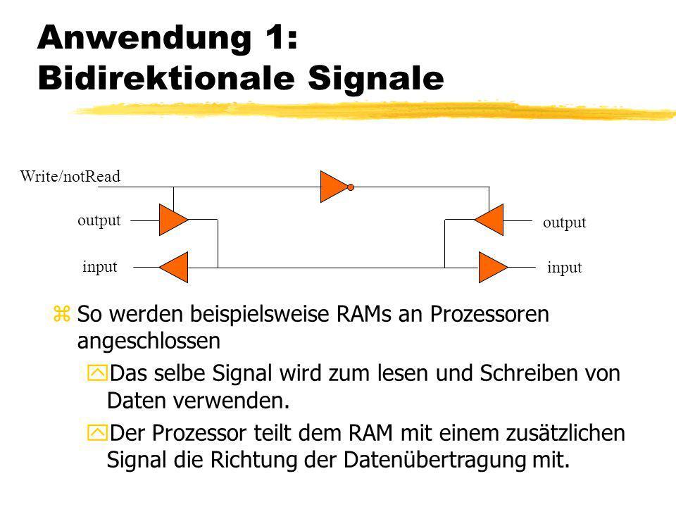 Anwendung 1: Bidirektionale Signale Write/notRead output input zSo werden beispielsweise RAMs an Prozessoren angeschlossen yDas selbe Signal wird zum