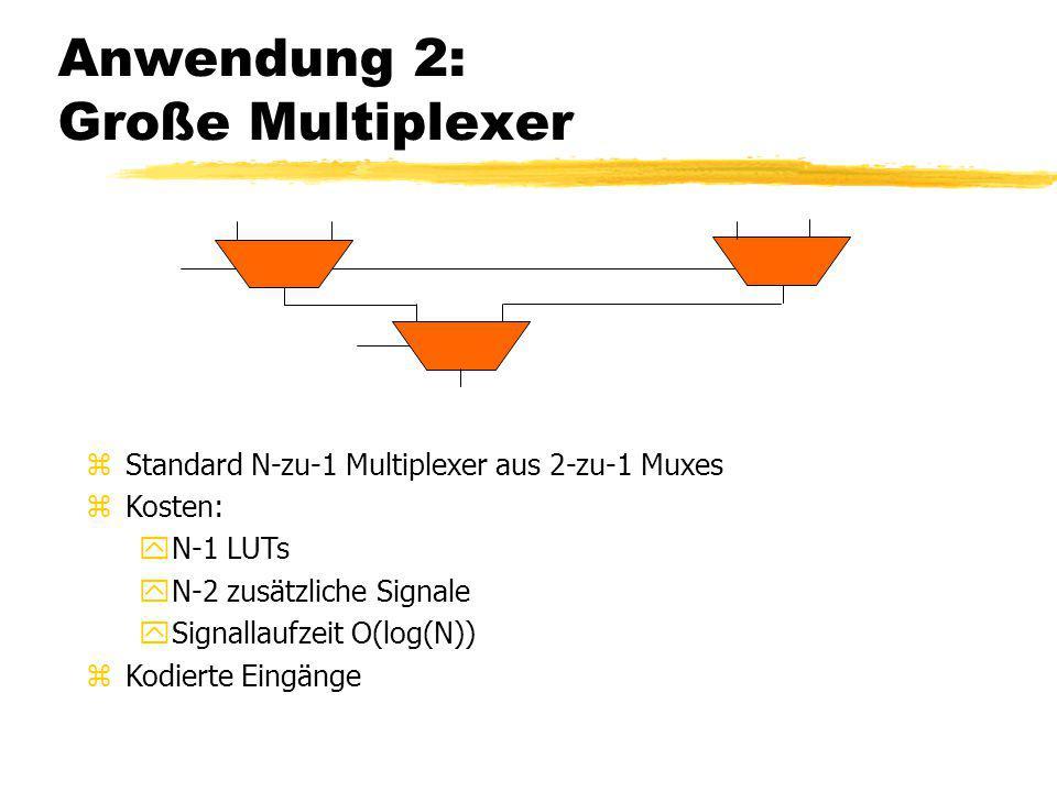 Anwendung 2: Große Multiplexer zStandard N-zu-1 Multiplexer aus 2-zu-1 Muxes zKosten: yN-1 LUTs yN-2 zusätzliche Signale ySignallaufzeit O(log(N)) zKo