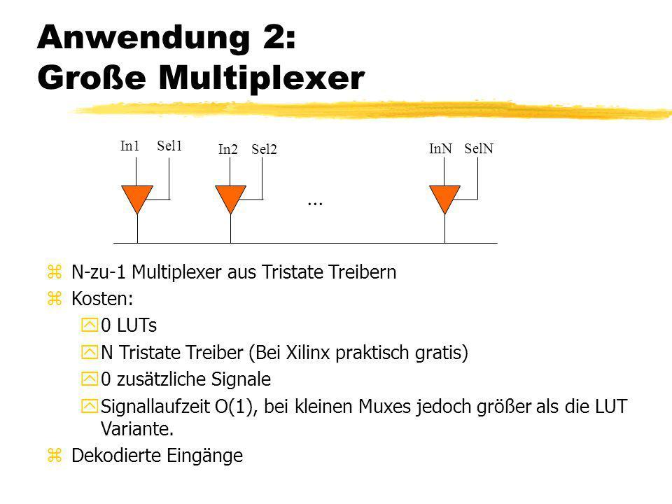 Anwendung 2: Große Multiplexer zN-zu-1 Multiplexer aus Tristate Treibern zKosten: y0 LUTs yN Tristate Treiber (Bei Xilinx praktisch gratis) y0 zusätzl