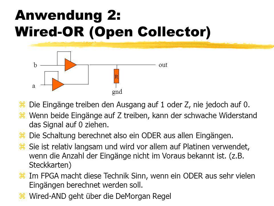Anwendung 2: Wired-OR (Open Collector) zDie Eingänge treiben den Ausgang auf 1 oder Z, nie jedoch auf 0. zWenn beide Eingänge auf Z treiben, kann der