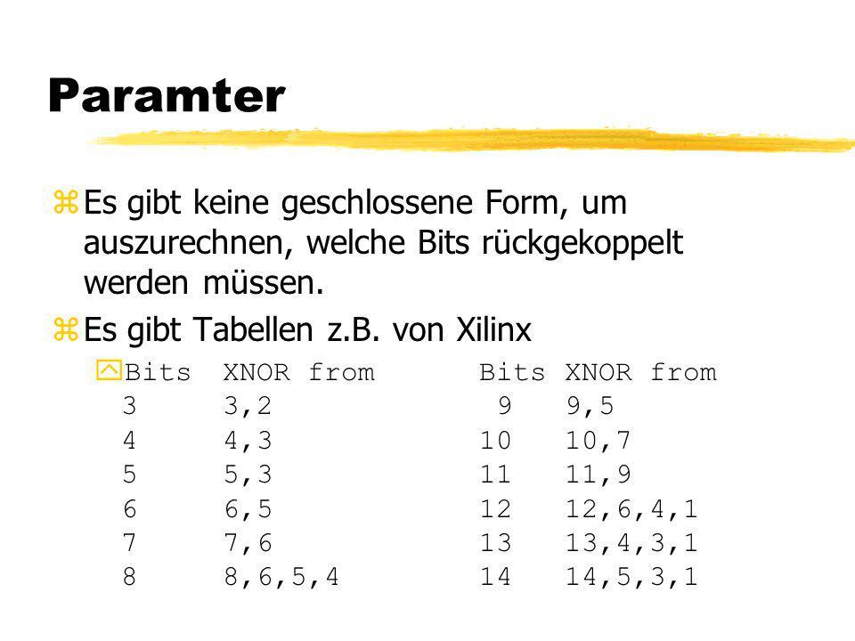 Paramter zEs gibt keine geschlossene Form, um auszurechnen, welche Bits rückgekoppelt werden müssen. zEs gibt Tabellen z.B. von Xilinx yBitsXNOR fromB