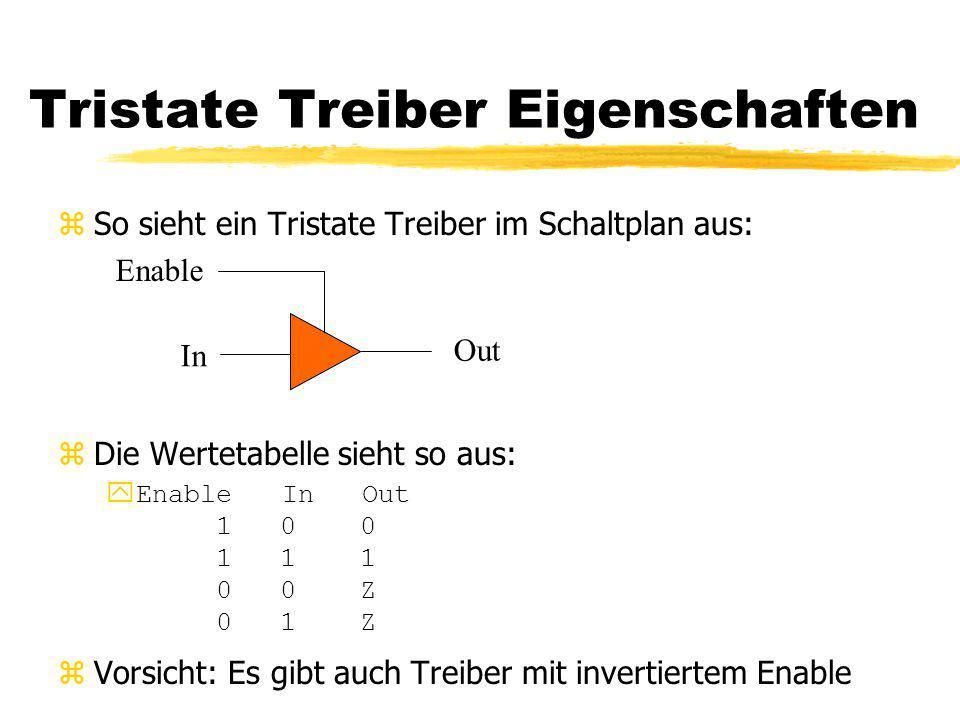Tristate Treiber Eigenschaften zSo sieht ein Tristate Treiber im Schaltplan aus: zDie Wertetabelle sieht so aus:  Enable In Out 1 0 0 1 1 1 0 0 Z 0 1