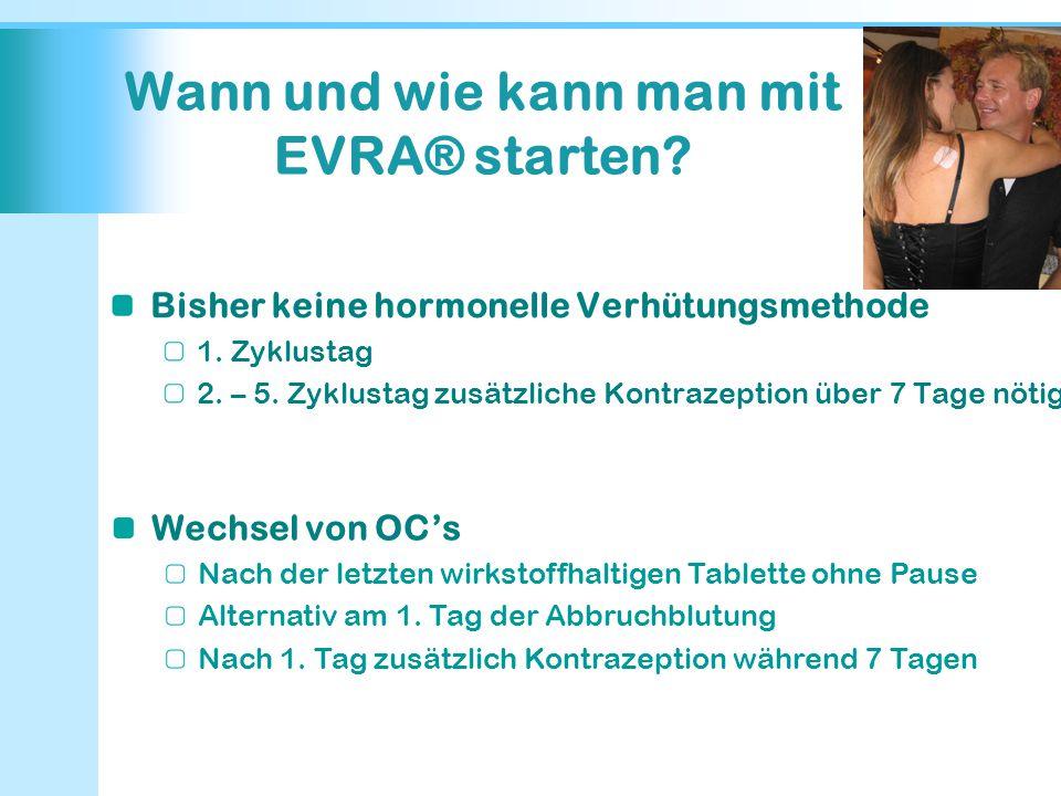 Wann und wie kann man mit EVRA® starten? Bisher keine hormonelle Verhütungsmethode 1. Zyklustag 2. – 5. Zyklustag zusätzliche Kontrazeption über 7 Tag