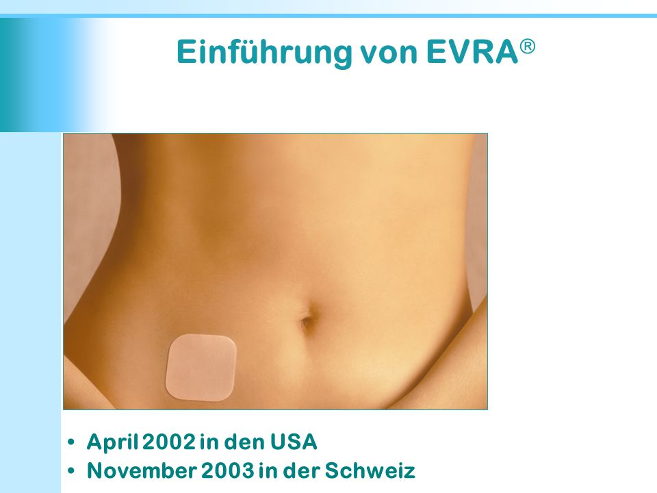 Einführung von EVRA  April 2002 in den USA November 2003 in der Schweiz