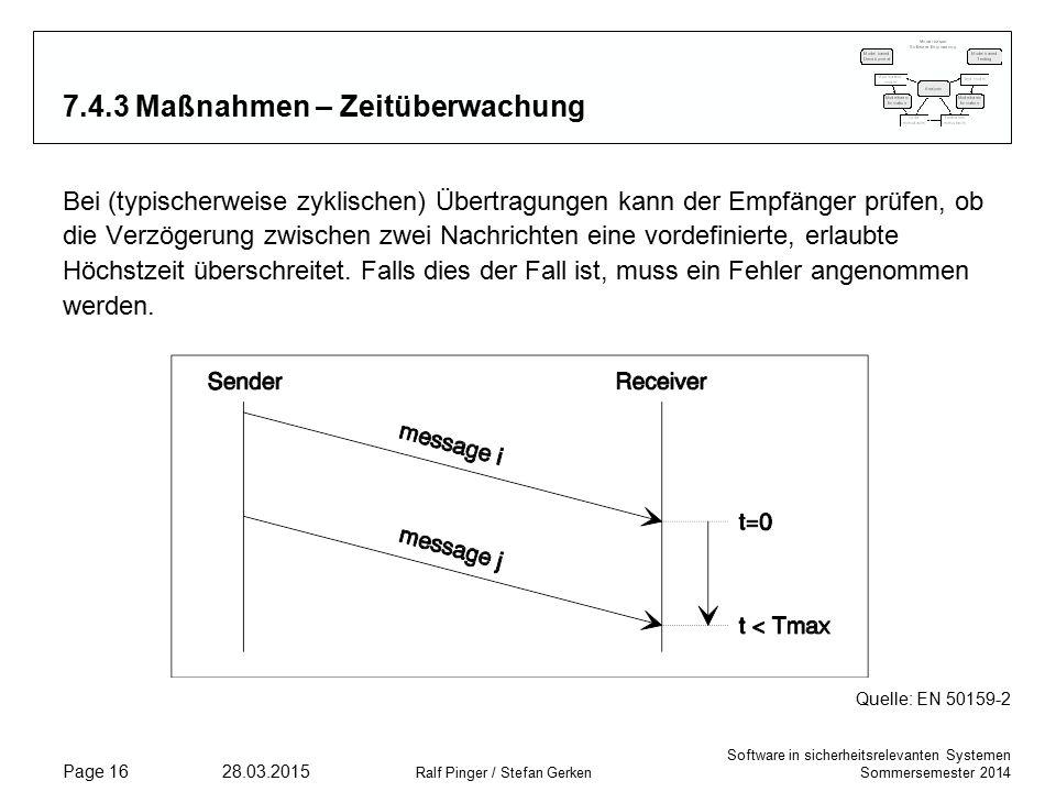 Software in sicherheitsrelevanten Systemen Sommersemester 2014 28.03.2015 Ralf Pinger / Stefan Gerken Page 16 7.4.3 Maßnahmen – Zeitüberwachung Bei (typischerweise zyklischen) Übertragungen kann der Empfänger prüfen, ob die Verzögerung zwischen zwei Nachrichten eine vordefinierte, erlaubte Höchstzeit überschreitet.