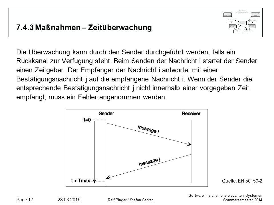 Software in sicherheitsrelevanten Systemen Sommersemester 2014 28.03.2015 Ralf Pinger / Stefan Gerken Page 17 7.4.3 Maßnahmen – Zeitüberwachung Die Überwachung kann durch den Sender durchgeführt werden, falls ein Rückkanal zur Verfügung steht.