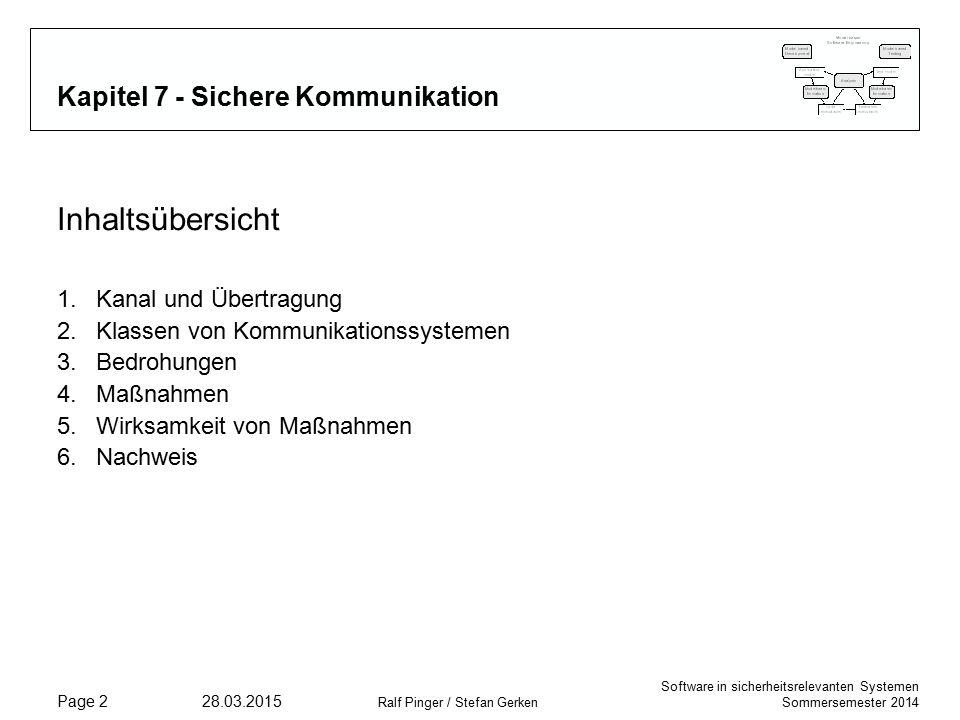 Software in sicherheitsrelevanten Systemen Sommersemester 2014 28.03.2015 Ralf Pinger / Stefan Gerken Page 2 Kapitel 7 - Sichere Kommunikation Inhaltsübersicht 1.Kanal und Übertragung 2.Klassen von Kommunikationssystemen 3.Bedrohungen 4.Maßnahmen 5.Wirksamkeit von Maßnahmen 6.Nachweis