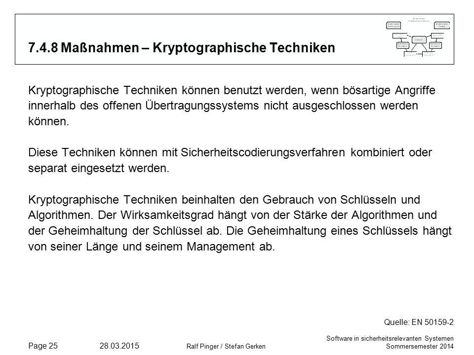 Software in sicherheitsrelevanten Systemen Sommersemester 2014 28.03.2015 Ralf Pinger / Stefan Gerken Page 25 7.4.8 Maßnahmen – Kryptographische Techniken Kryptographische Techniken können benutzt werden, wenn bösartige Angriffe innerhalb des offenen Übertragungssystems nicht ausgeschlossen werden können.