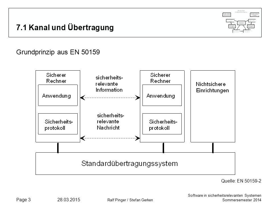 Software in sicherheitsrelevanten Systemen Sommersemester 2014 28.03.2015 Ralf Pinger / Stefan Gerken Page 14 7.4.2 Maßnahmen – Zeitstempel Wenn eine Einheit eine Information empfängt, ist die Bedeutung der Information oft zeitbezogen.