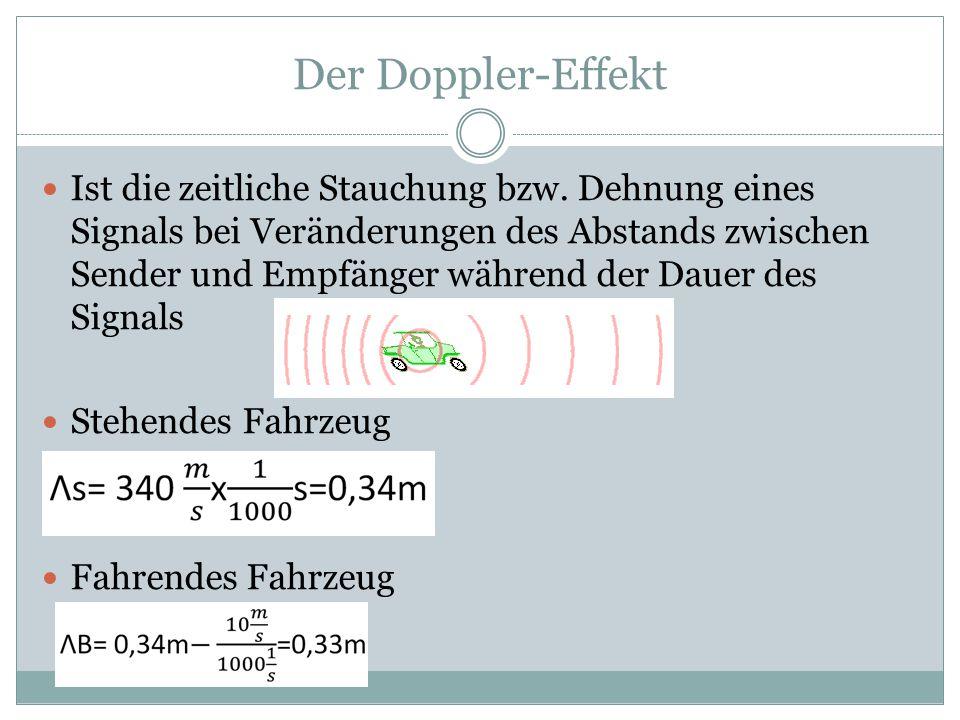 Der Doppler-Effekt Ist die zeitliche Stauchung bzw. Dehnung eines Signals bei Veränderungen des Abstands zwischen Sender und Empfänger während der Dau