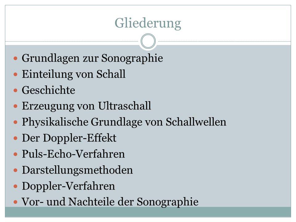 Gliederung Grundlagen zur Sonographie Einteilung von Schall Geschichte Erzeugung von Ultraschall Physikalische Grundlage von Schallwellen Der Doppler-