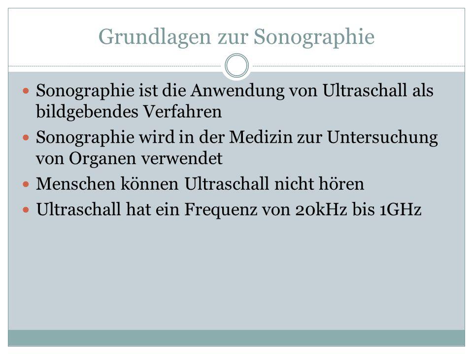 Grundlagen zur Sonographie Sonographie ist die Anwendung von Ultraschall als bildgebendes Verfahren Sonographie wird in der Medizin zur Untersuchung v
