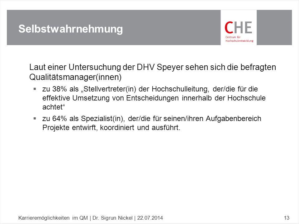 """Laut einer Untersuchung der DHV Speyer sehen sich die befragten Qualitätsmanager(innen)  zu 38% als """"Stellvertreter(in) der Hochschulleitung, der/die"""