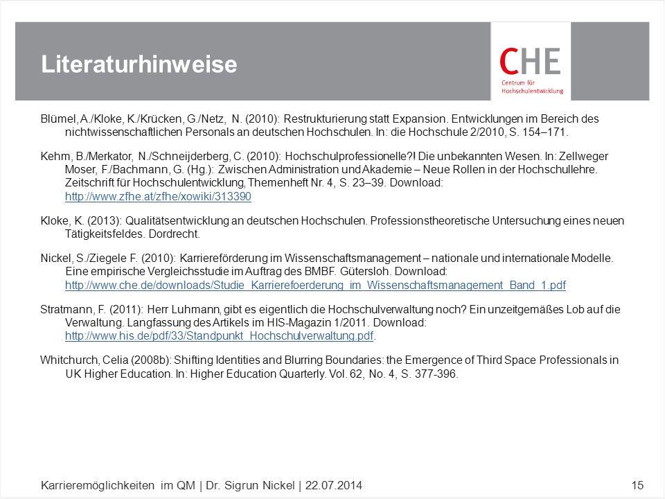 Blümel, A./Kloke, K./Krücken, G./Netz, N. (2010): Restrukturierung statt Expansion. Entwicklungen im Bereich des nichtwissenschaftlichen Personals an