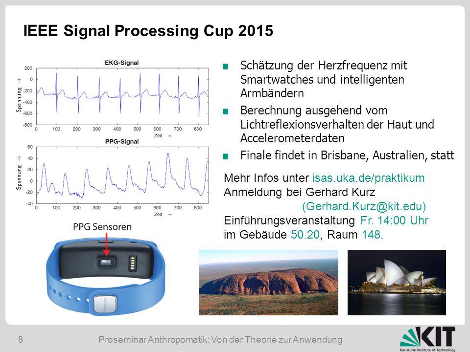 Proseminar Anthropomatik: Von der Theorie zur Anwendung8 IEEE Signal Processing Cup 2015 Schätzung der Herzfrequenz mit Smartwatches und intelligenten