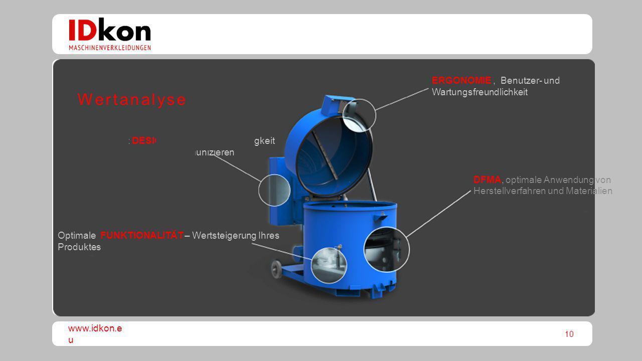 10 www.idkon.e u Optimale FUNKTIONALITÄT – Wertsteigerung Ihres Produktes DFMA, optimale Anwendung von Herstellverfahren und Materialien ERGONOMIE, Be