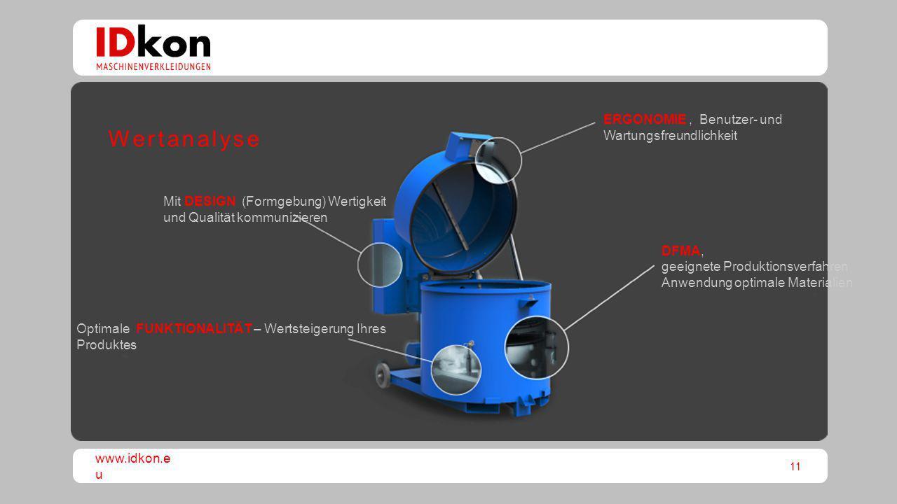 11 www.idkon.e u Optimale FUNKTIONALITÄT – Wertsteigerung Ihres Produktes DFMA, geeignete Produktionsverfahren Anwendung optimale Materialien ERGONOMI