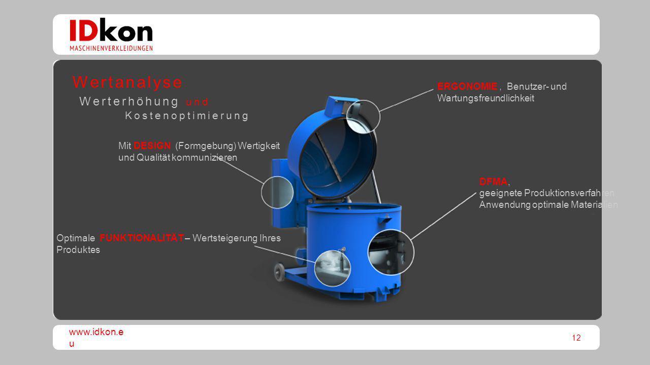 12 www.idkon.e u Optimale FUNKTIONALITÄT – Wertsteigerung Ihres Produktes DFMA, geeignete Produktionsverfahren Anwendung optimale Materialien ERGONOMI