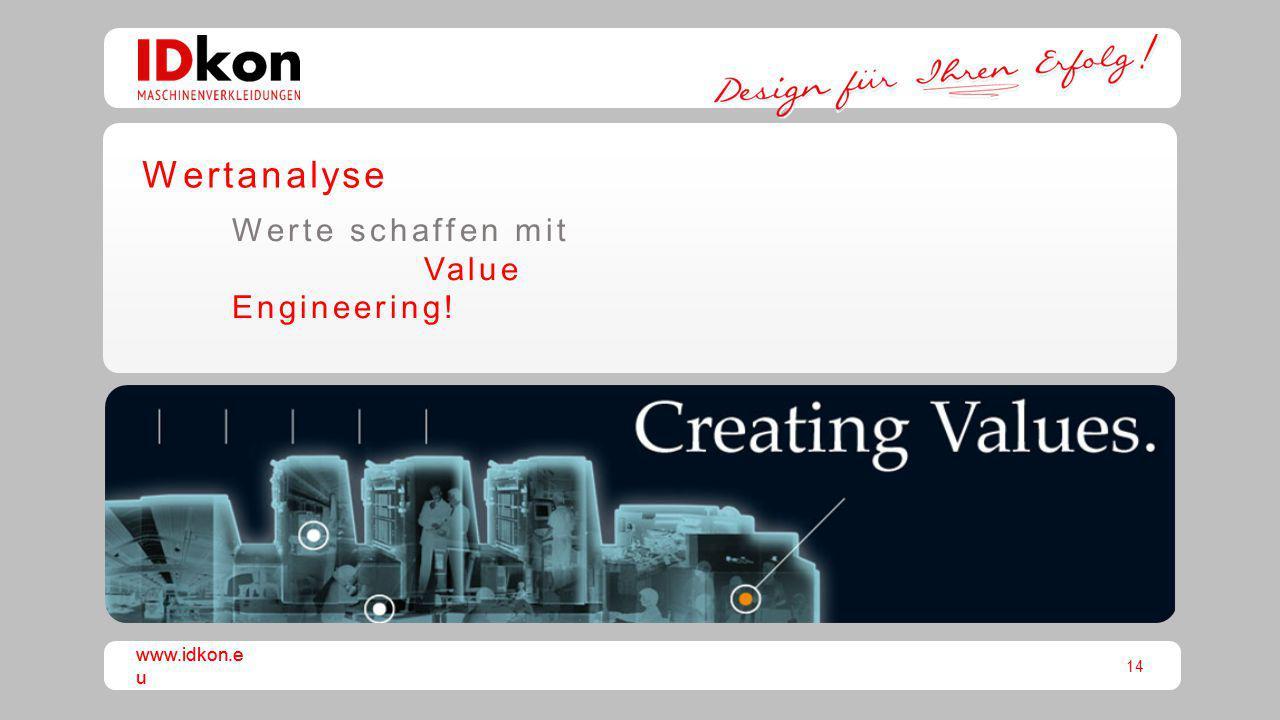 14 www.idkon.e u Wertanalyse Werte schaffen mit Value Engineering!