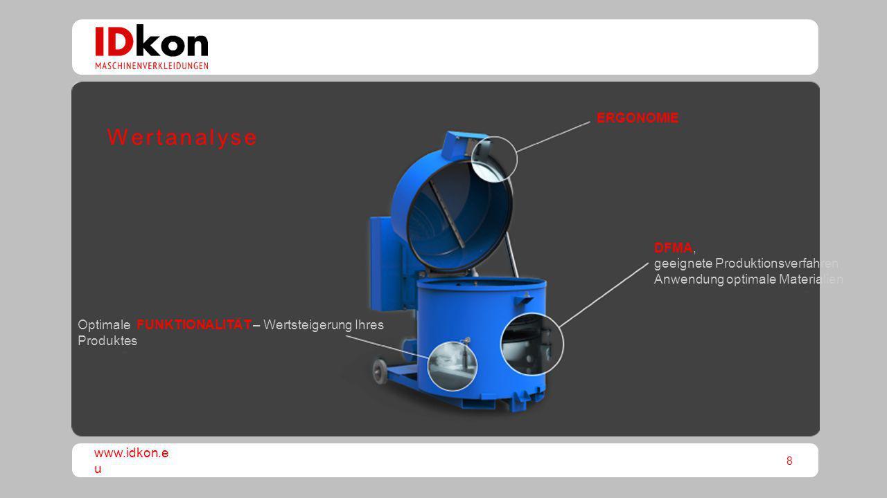 8 www.idkon.e u Optimale FUNKTIONALITÄT – Wertsteigerung Ihres Produktes DFMA, geeignete Produktionsverfahren Anwendung optimale Materialien ERGONOMIE