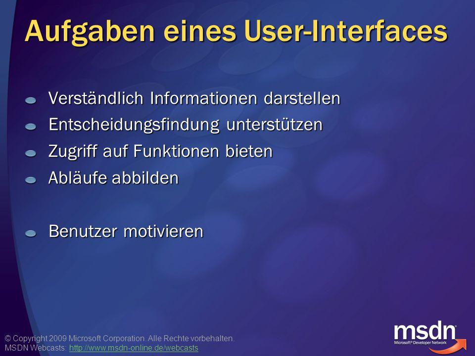© Copyright 2009 Microsoft Corporation. Alle Rechte vorbehalten. MSDN Webcasts: http://www.msdn-online.de/webcastshttp://www.msdn-online.de/webcasts A
