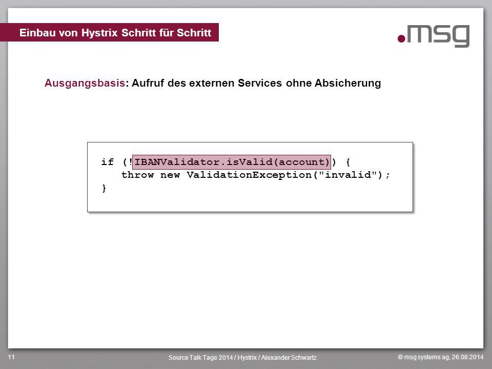 © msg systems ag, 26.08.2014 Source Talk Tage 2014 / Hystrix / Alexander Schwartz 11 Ausgangsbasis: Aufruf des externen Services ohne Absicherung Einb