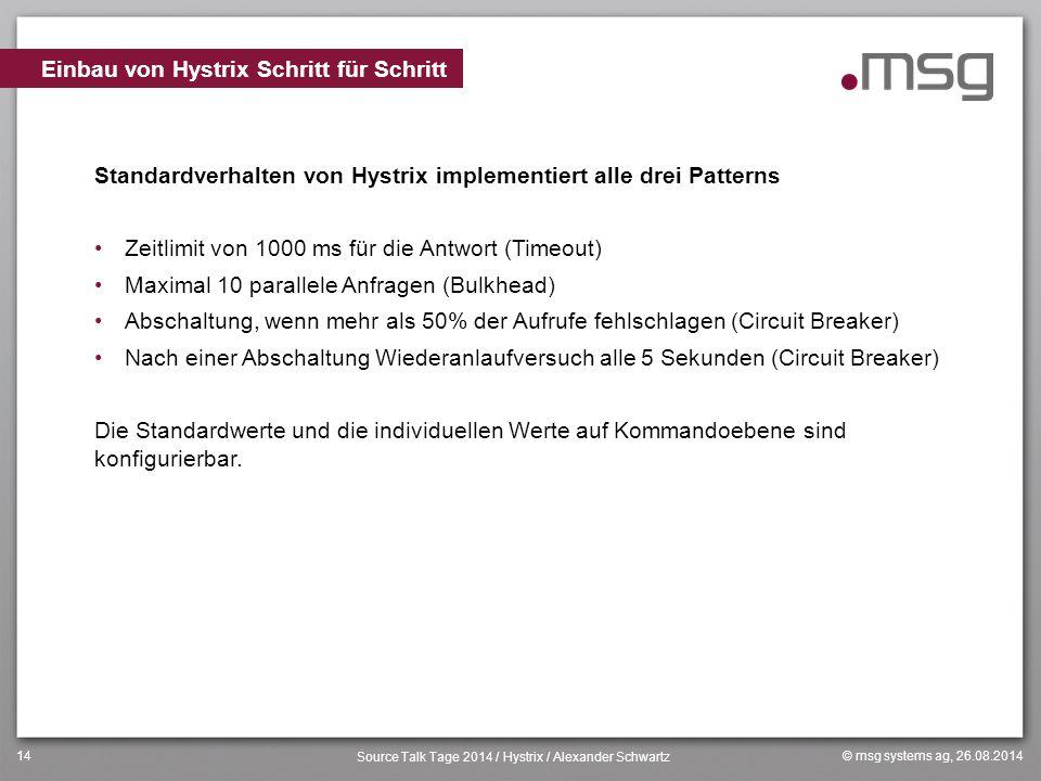 © msg systems ag, 26.08.2014 Source Talk Tage 2014 / Hystrix / Alexander Schwartz 14 Standardverhalten von Hystrix implementiert alle drei Patterns Ze